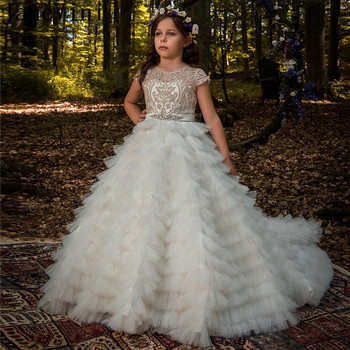 JaneVini Ball Gown Puffy Tulle Flower Girl Dresses with Train Long Beaded Appliques Kids Tiered Cake Dress for Girls Weddings mint green flower girl dress for weddings tulle with lace open back ball gown