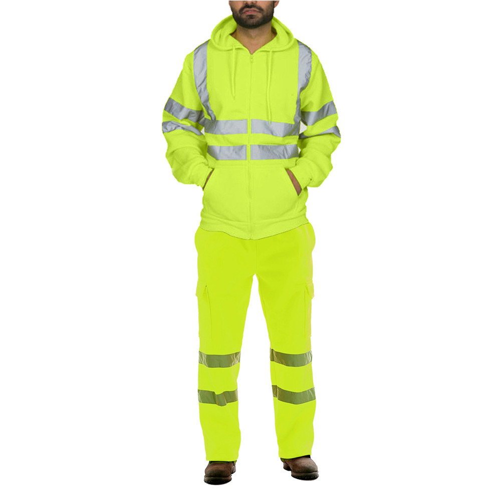 QNPQYX Winter Streetwear Flleece Tracksuit Men Stripe Road Work High Visibility Sweatshirt And Pants Sets Reflective Sport Suits