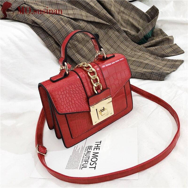 Fashion Women Handbags High Quality Crocodile Pattern Leather Small Square Bag Chain Shoulder Bag Messenger Bag Ladies Tote Bags