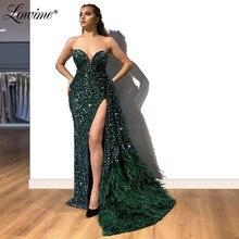 Piume Verde Vestito Da Partito Caldo Sexy di Alta Split Side Paillettes Abiti da ballo 2020 Custom Africano Abito Da Sera Abiti Da Sera Lunghi