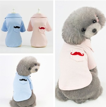 Moustache Dog Clothes Shirt Solid Print Dogs Clothing Small Pet Costume Pocket Spring Summer New Chihuahua Boy Ropa Para Perro image