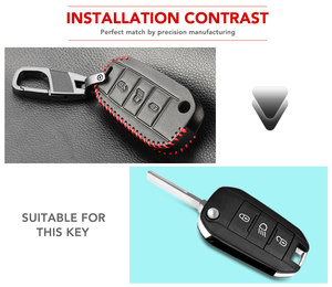 Image 5 - Car Key Case Cover For Peugeot 301 308 408 508 2008 308S 3008 4008 5008 307 Accessories Genuine Leather Keychain Bag Holder