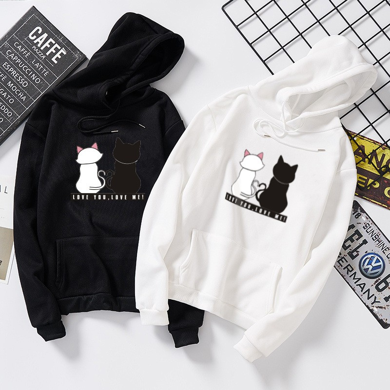 BEFORW 2019 Hoodies Unisex Black White Couple Cat Hoodie Jumper Men Women Casual Printed Sweatshirt Long Sleeve Hoodie