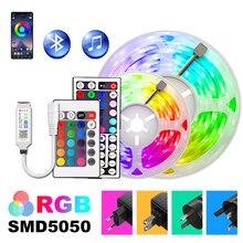 Rgb conduziu luzes de tira 5m-30m app controlador 5050 led dc12v fita flexível férias lâmpadas luces decorativas conjunto com adaptador