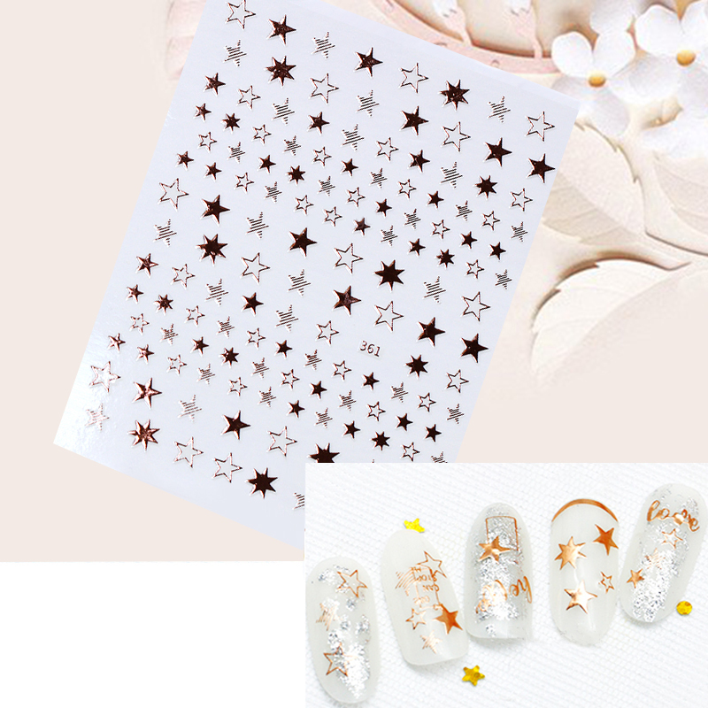 1 Sheet Star Alphabet Geometry Nail Sticker Rose Gold Feather Water Decal Manicure DIY Decoration Nail Art Transfer Sticker-in Stickers & Decals from Beauty & Health