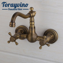 Antique brass bathroom basin faucet wall mounted torneira banheiro misturador duplo Tap Bathtub Faucets double handles Mixer Tap(China)