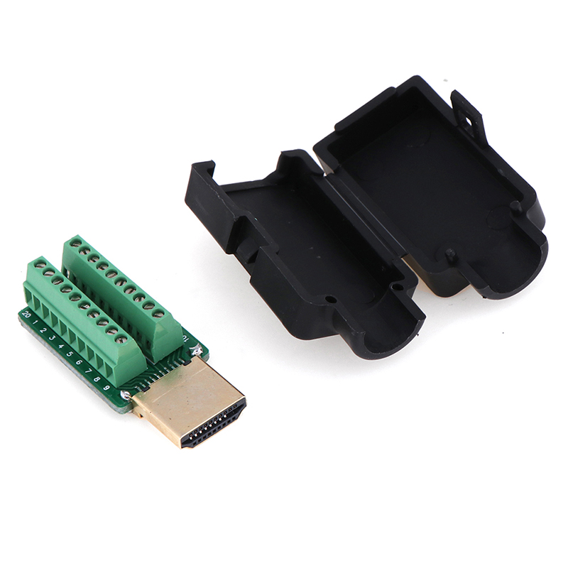 2.54mm HDMI Male 19P Plug Breakout Terminals Solderless Connector With Black Cover 20-26AWG
