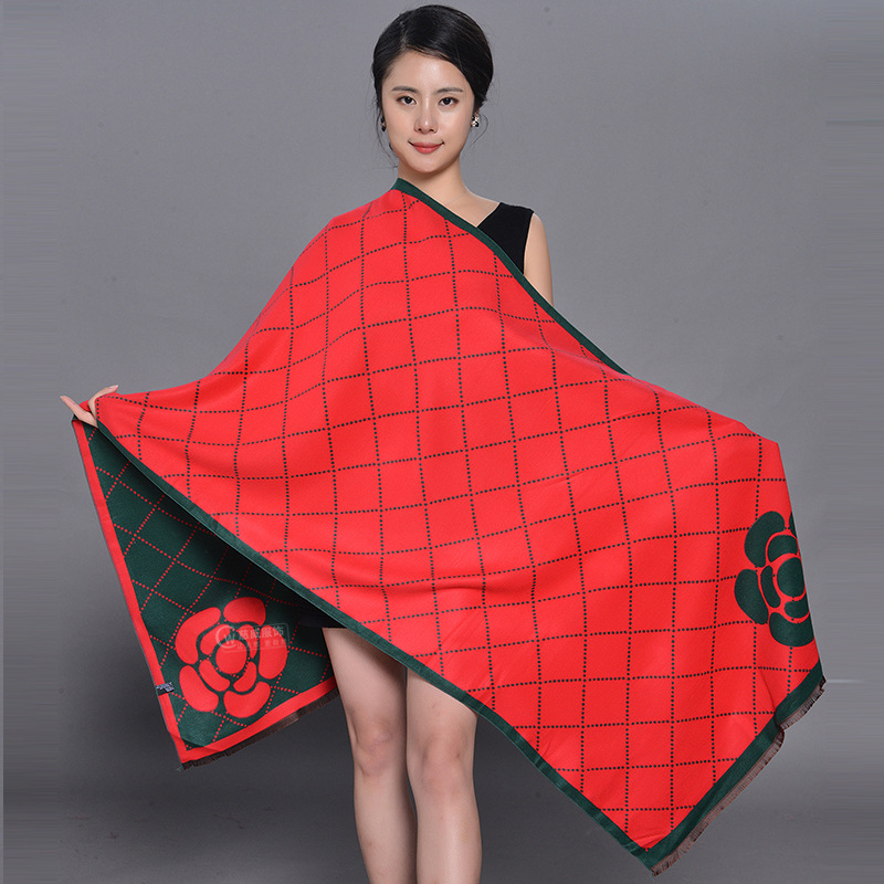Korea Version Thickened Custom Warm Scarf Autumn And Winter New Scarf Imitation Cashmere Brushed  Air-conditioned Room Shawl