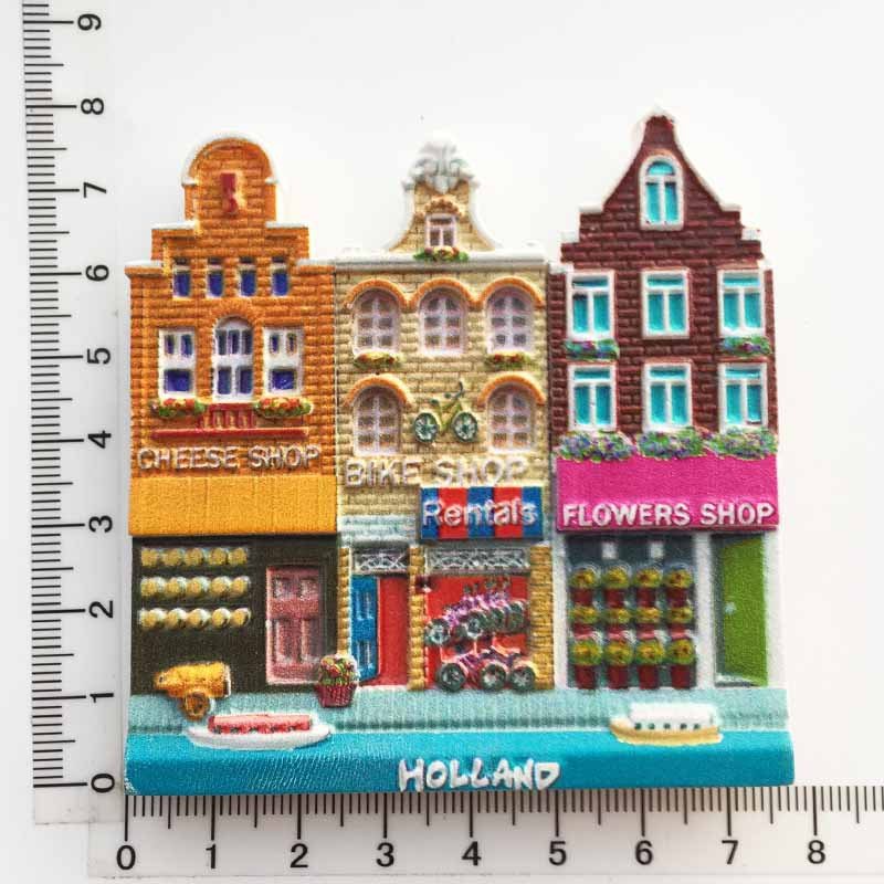 Holland Creative Fridge Magnet Souvenir Amsterdam Street Cultural Landscape Tourist Gift Ideas 3d Resin Fridge Magnet Decor Fridge Magnets Aliexpress