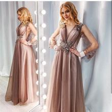 Prom-Gown Evening-Dress Sequined Luxury Illusion Tulle Long-Sleeve A-Line Party Formal