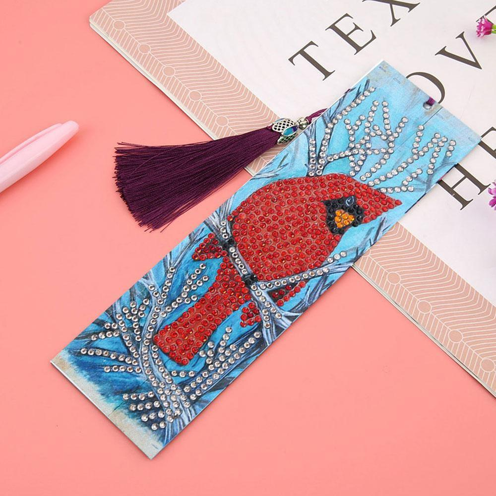 1 Pc DIY Special Shaped Diamond Painting Bookmark Leather Embroidery Cross Stitch Tassel Bookmarks For Book Kids Christmas Gift
