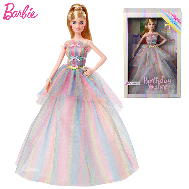 Birthday Wishes Barbie Doll Rainbow Dress Fashion Girls Toy Barbie Clothes and Accessories Toys for Children Edition CollectIon