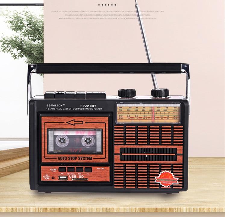 Ретро портативный AM FM SW лента поддерживает беспроводной Bluetooth динамик Многофункциональный рекордер радио