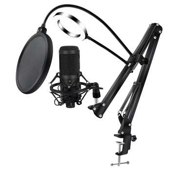 Metal USB Microphone Condenser Recording Microphone Wired Mic with Stand for Computer Laptop PC Karaoke Studio Recording 5
