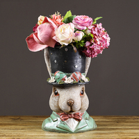 European Resin Rabbit Flower Pot Decoration Home Livingroom Table Furnishing Crafts Outdoor Courtyard Balcony Figurines Crafts