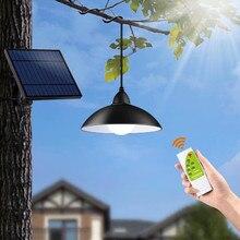 Żyrandol lampa LED na energię słoneczną z pilotem lampa słoneczna Retro abażur żarówka Panel słoneczny 16ft przewód zewnętrzny ogród słoneczny światło