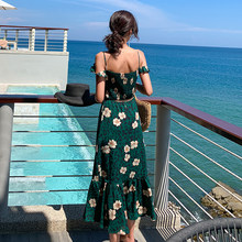 Summer Women Floral Print Green Sundress Female Boho Tropical Sexy Vacation Backless Vintage Ruffle Long Beach Sea Korean Dress(China)