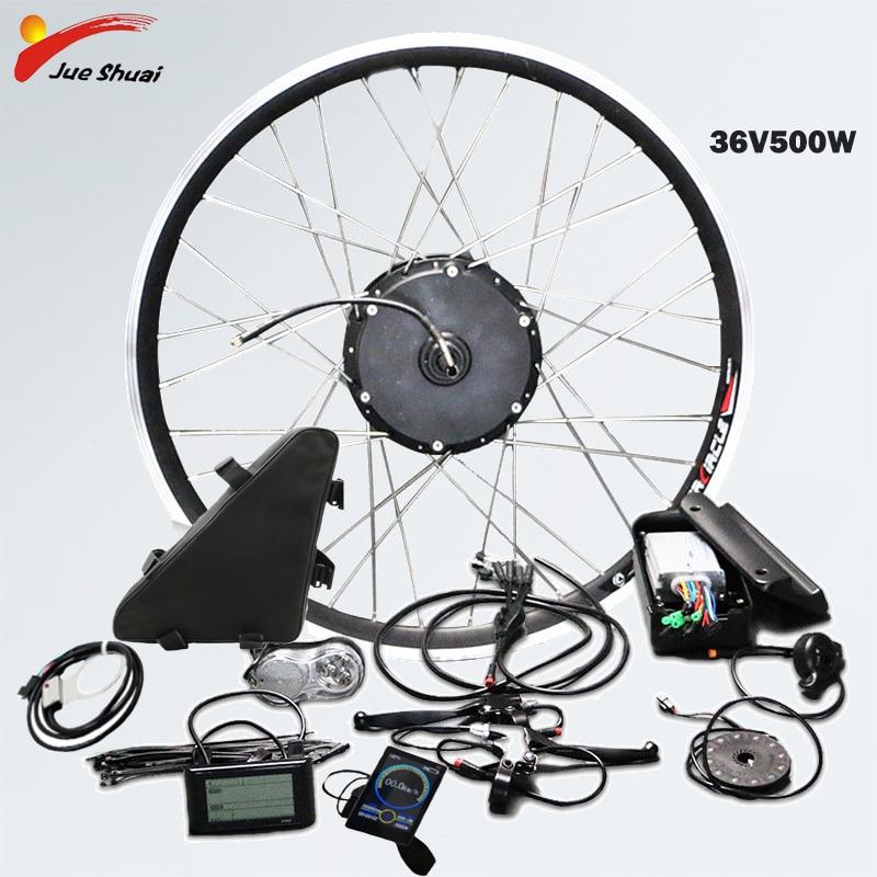 36V 500W Kit de Conversion de vélo électrique roue avant avec batterie moyeu de vélo roue moteur e Kit de Conversion de vélo Bicicleta Eletrica