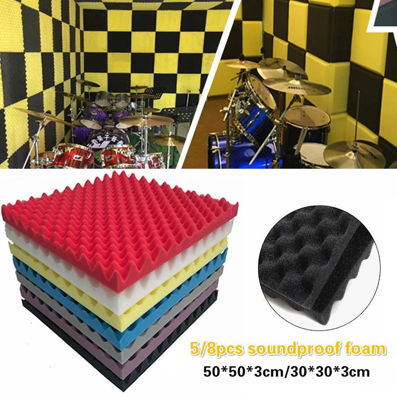 5pcs/set 50x50x3.5cm Soundproof Foam Egg Profile Sound Absorbent Foam Acoustic Panel Noise Absorption File for KTV Audio Room