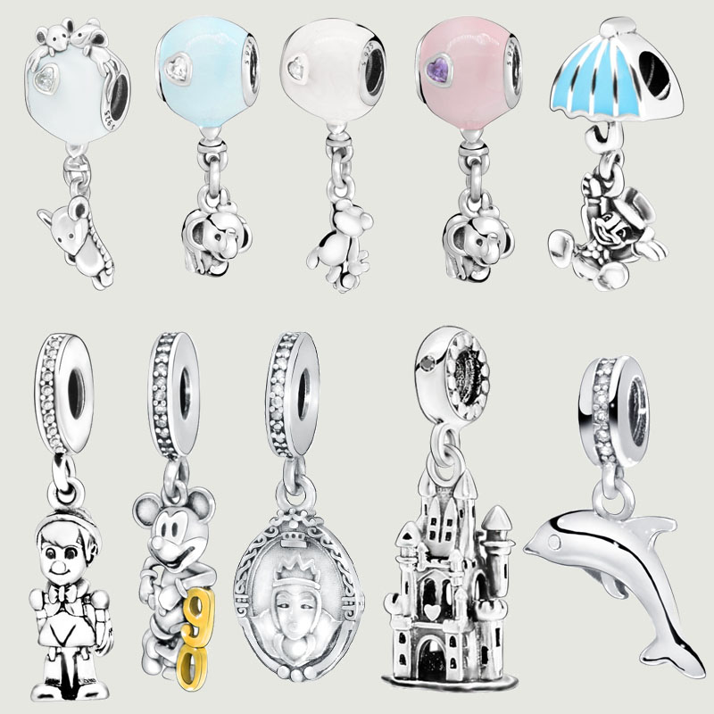 925 Sterling Silver 10 Types Cartoon Mouse Ballon White Snow Beads charms fit Original Pandora Bracelets Women DIY Jewelry(China)