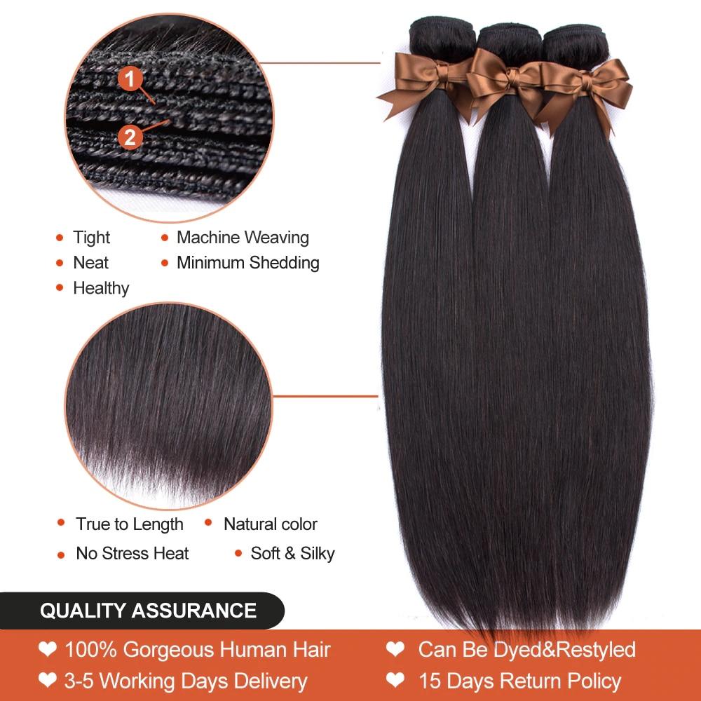 Hc879edc3b34746319b6f2f754c1f13bcc Beaudiva Hair Extension 100% Human Hair Bundles With Closure Brazilian Hair Weave 3 Bundles Straight Bundles With Lace Closure