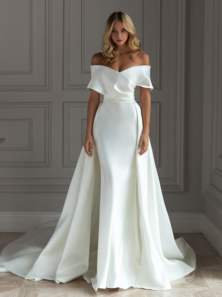 BECHOYER Wedding-Dress Detachable-Train Bridal-Gown Satin Sweetheart Mermaid Princess