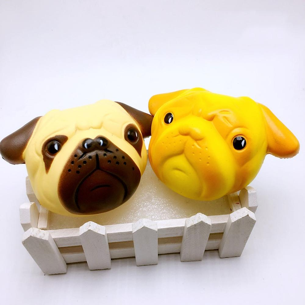 Kawaii Colorful Pug Squishy Doll Slow Rising Stress Relief Squeeze Toys For Baby Kids Xmas Gift 11x7.5x5cm