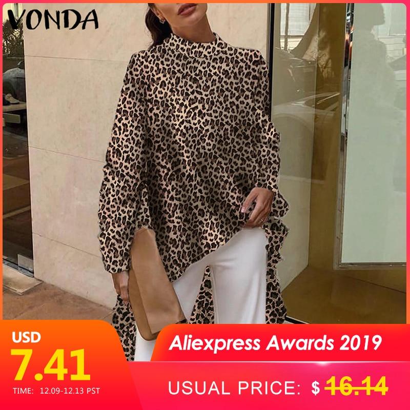 VONDA 2019 Women Summer Long Shirt Blouses Sexy Long Sleeve Casual Leopard Print Blouse Office Asymmetrical Blusas Plus Size Top