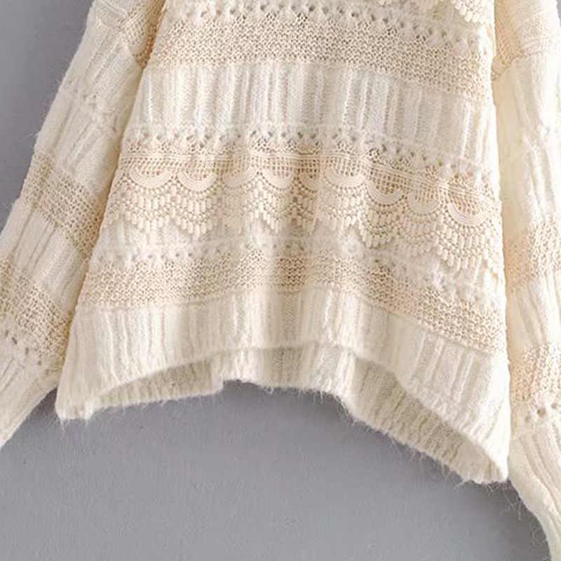 빈티지 우아한 속이 빈 레이스 느슨한 니트 스웨터 여성 2019 패션 o 목 패치 워크 아늑한 풀오버 세련된 탑스 당겨 femme