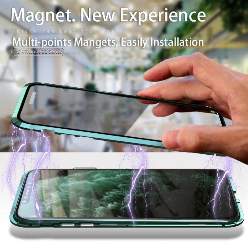 IPhone 11 Pro Max Coque Adsorption Magnétique Cadre en Métal Housse ,Clair Verre Trempé Couverture Etui de Protection