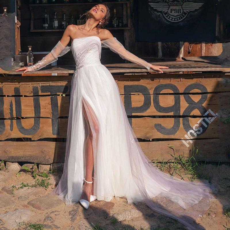 Sevintage Beach Strapless Boho Wedding Dresses Long Sleeves Lace Bridal Gowns Sweep Train Slit Side Bride Dress Robe De Mariee