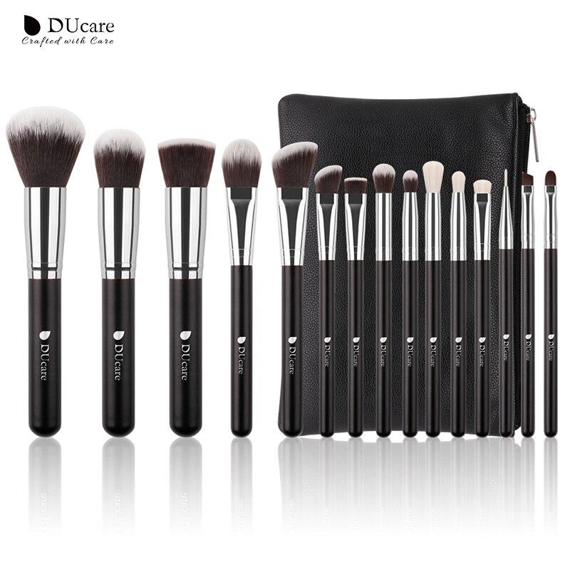 DUcare 15Pcs Pincéis de Maquiagem Definida Pêlo de cabra Cabelo Sintético Make Up Profissional Escova Cosméticos Kit com Saco
