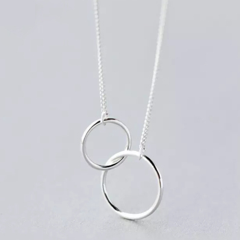 Double Circle Interlock Clavicle Short Necklace 925 Sterling Silver Necklace For Women collares   S-N191 roxi minimalist small round pendant necklace women 925 sterling silver necklace geometric karma circle necklace choker collares