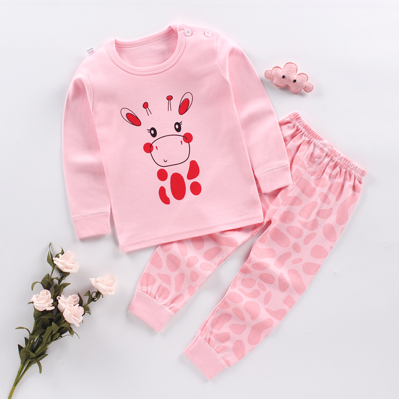 Children Pajamas Spring Autumn Cotton Clothing Set Kids Thermal Underwear Pyjamas Pijamas Set Girl Pink Cartoon Animal Sleepwear