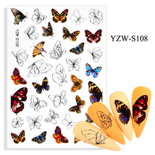 3D Stickers for Nails Self-adhesive Leopard Butterfly Papilio Nail Art Decorations Line