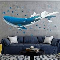 Креативная Наклейка на стену в виде Кита, фон для гостиной, настенный Декор для дома, самоклеящиеся наклейки для украшения комнаты, спальни, ...