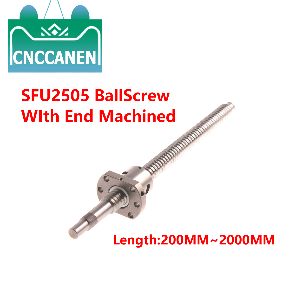 RM2505 BallScrew SFU2505-300 1000 1500 2000mm Ball Screw C7 With 2505 Flange Single Ball Nut BK/BF20 End Machined For CNC Parts