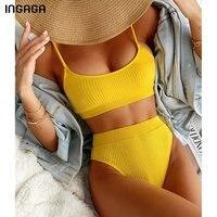 INGAGA High Waist Bikinis Swimwear Women Push Up Swimsuits Ribbed Bathing Suits High Cut Sexy Biquini 2021 Summer Beachwear 1