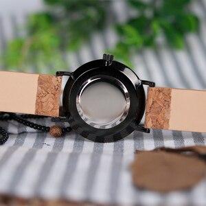 Image 5 - BOBO BIRD Ultra Thin Metal Male Watch Men Women Ladies Simple Quartz Wristwatches Cork Band relojes para mujer Dropshipping