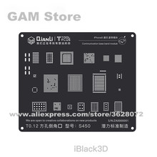QIANLI iBlack ثلاثية الأبعاد قاعدة الاستنسل بغا آيفون 5 5s 6G 6Plus 6S 6SP 7 7P 8 8P واي فاي الطاقة IC Reball لحام شبكة معدنية القصدير صافي