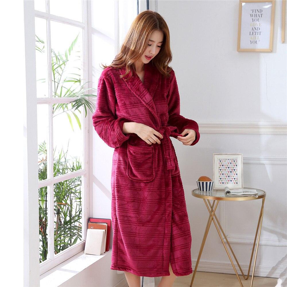 Soft Coral Winter Warm Belt Pyjamas Home Clothing Fleece Robe Women Sleepwear Nightgown Kimono Gown Bathrobe Flannel LoungeDress