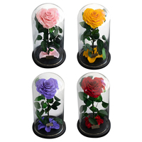 Heart shaped Rose Preserved Flowers Glass Cover with Gift Box