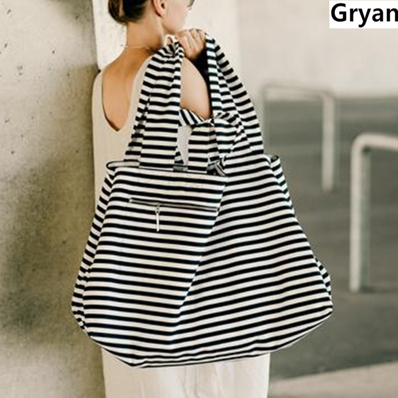 2019 Large Canvas Fashion Durable Women Black And White Stripes Big Shoulder Bag Shopping Tote Flax Cotton Shopping Bags Maximal