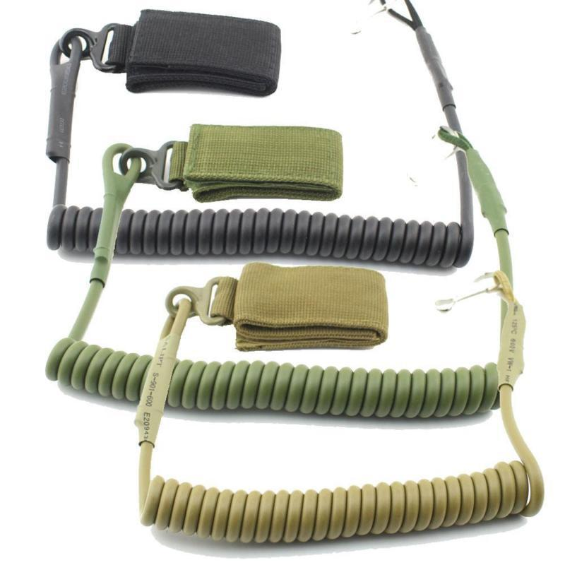 Outdoor Tactical Spring Rope Coil Sling Rope Lanyard Airsoft Gun Handgun Shooting Military Bag Spring Strap Safety Rope Keychain