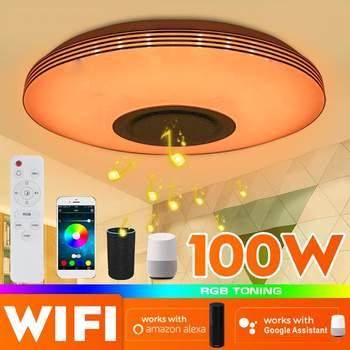 Lámpara de techo LED RGB de Control inteligente con aplicación WiFi de 100W, lámpara de Control remoto con bluetooth moderno para sala de estar o dormitorio