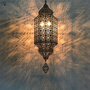 Марокканские Ретро Винтажные полые резные подвесные светильники светодиодные подвесные лампы для гостиной столовой ресторана спальни каф...