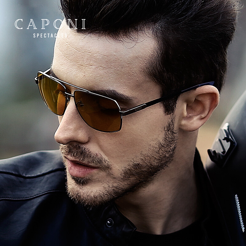 Image 3 - CAPONI Vintage Sunglasses Photochromic Polarized Fashion Eyewear For Men Square Night Vision Driving Sun Glasses UV400 BSYS8002-in Men's Sunglasses from Apparel Accessories