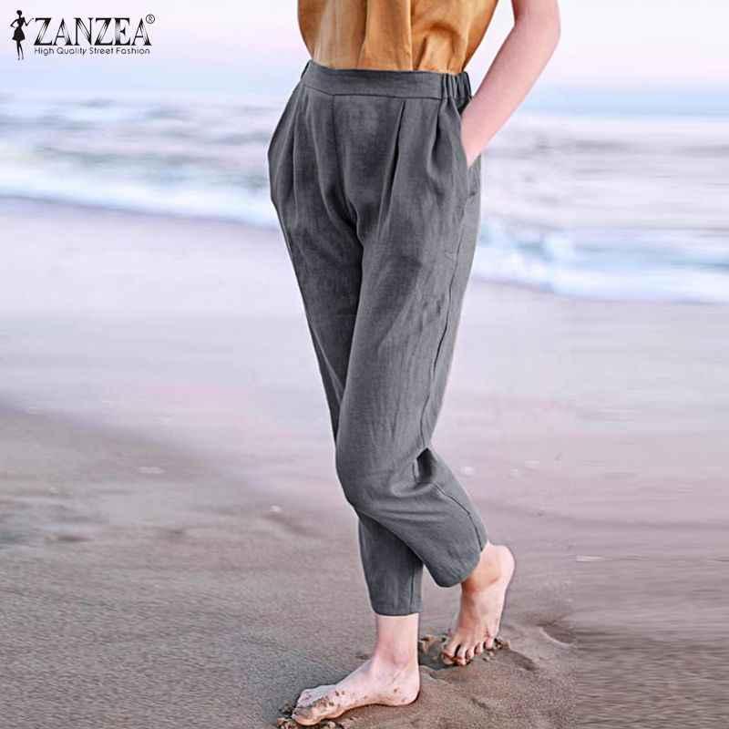 Pantalones De Tubo Zanzea 2020 Para Mujer Pantalones Largos De Mujer Sueltos Informales Con Cintura Elastica En La Espalda Pantalones Bajos Con Bolsillos Solidos 7 Pantalones Y Pantalones Capri Aliexpress