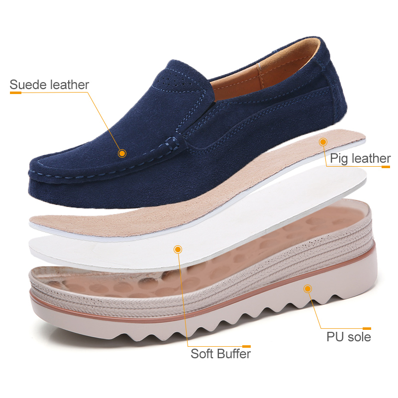 Image 5 - STQ 2020 Spring Women Flats Shoes Platform Sneakers Shoes Leather Suede Casual Shoes Slip On Flats Heels Creepers Moccasins 3088women flats shoesflats shoesslip on flats -