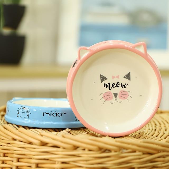 Bols en céramique pour chien chat voyage | 2 pièces chat mignon dessin animé chat, gamelle bol deau pour chien, chats chiot nourriture dextérieur